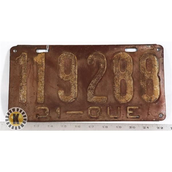 #170 QUEBEC 1931 LICENCE PLATE 119288 EARLY FRENCH