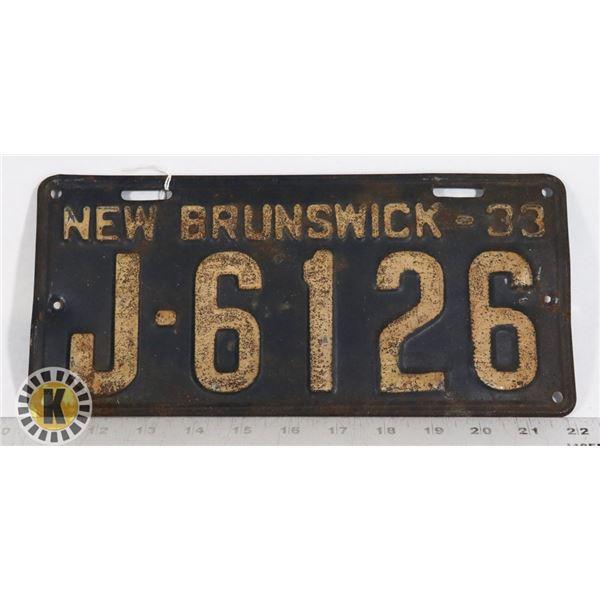 #173 NEW BRUNSWICK 1933 LICENCE PLATE J-6126