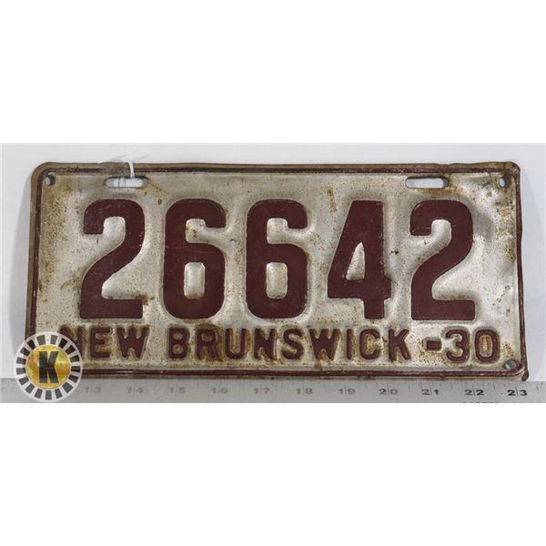 #175 NEW BRUNSWICK 1930 LICENCE PLATE 26642 EARLY