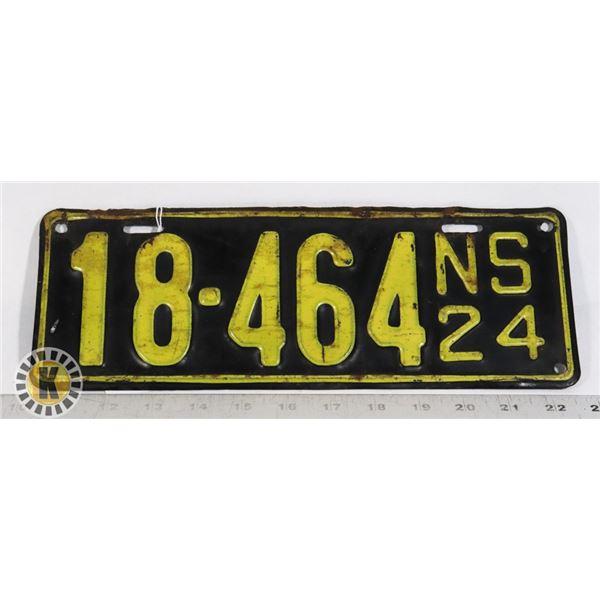 #177 RARE NOVA SCOTIA 1924 LICENCE PLATE 18-464