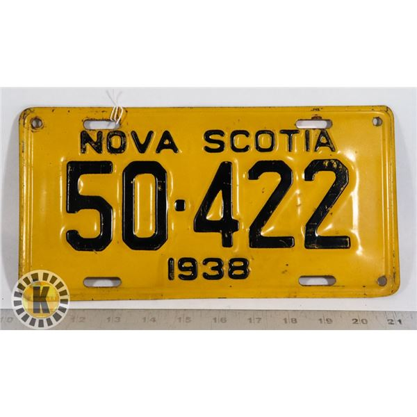 #178 NOVA SCOTIA 1938 LICENCE PLATE 50-422 EARLY