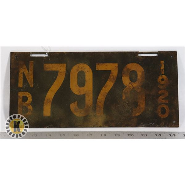 #179 RARE EARLY NEW BRUNSWICK 1920 LICENCE PLATE