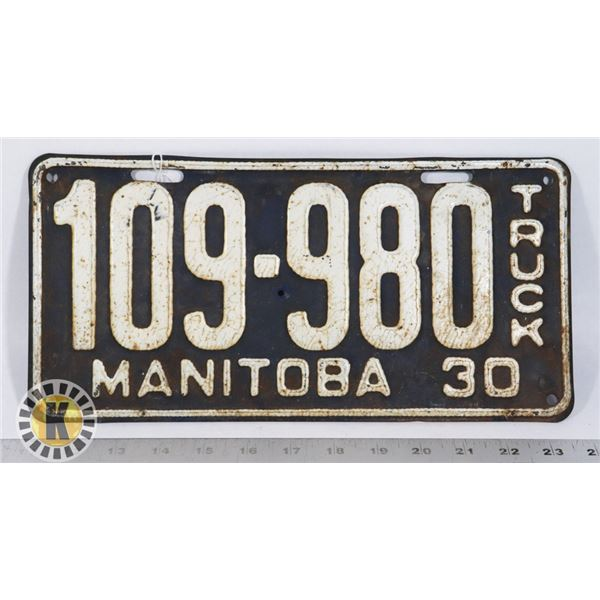 #183 TRUCK LICENCE PLATE 1930 MANITOBA 109-980