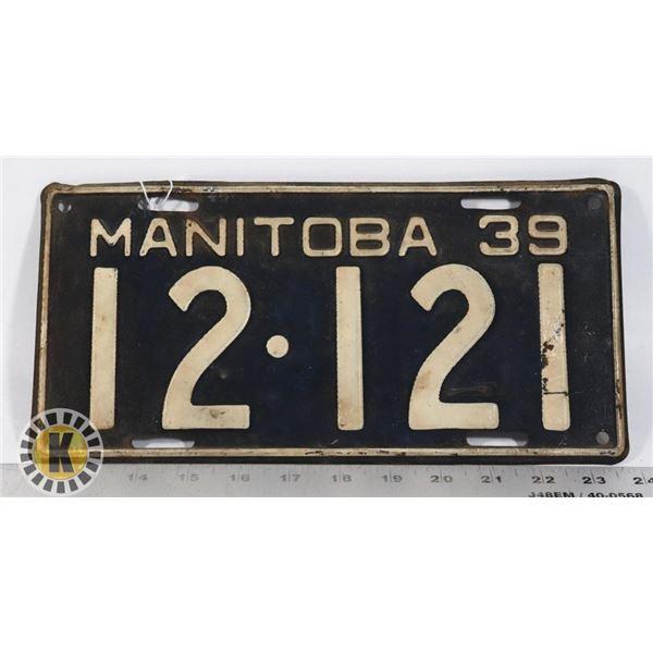 #184 MANITOBA 1939 LICENCE PLATE 12-121 WORLD