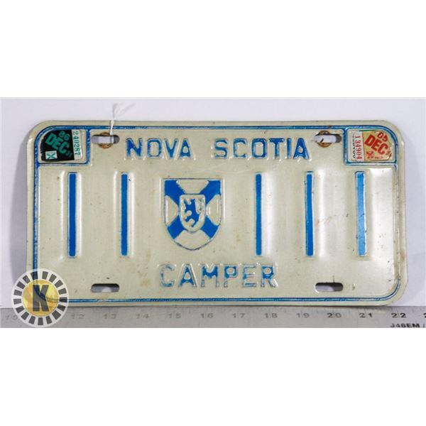#189 RARE 1985 1986 NOVA SCOTIA CAMPER LICENCE