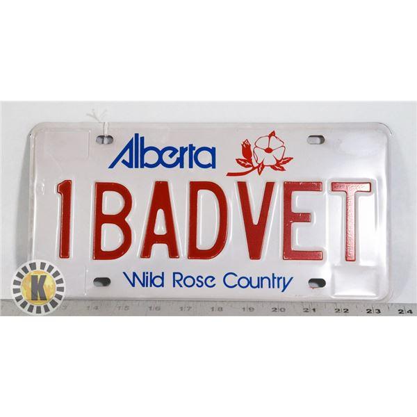 "#190 RARE ALBERTA LICENCE PLATE ""1BADVET"" CORVET"