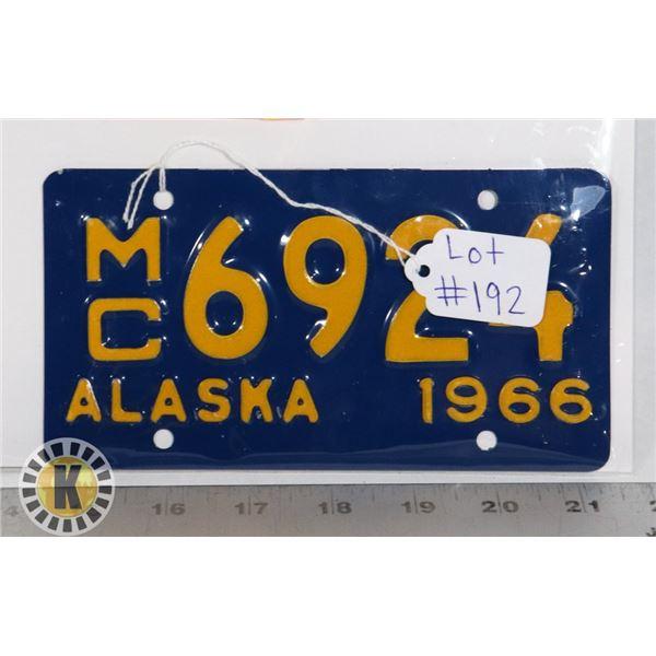 #192 U.S.A. AMERICAN LICENCE PLATE 1966 ALASKA