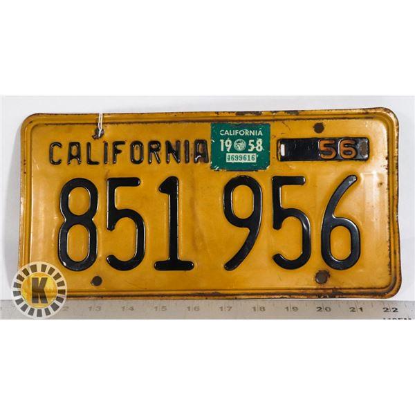 #196 U.S.A. AMERICAN LICENCE PLATE 1956 CALIFORNIA