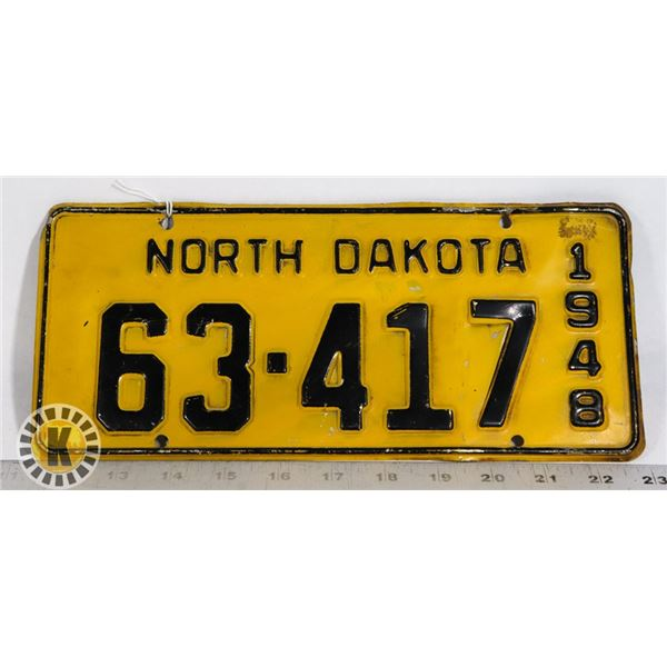 #201  U.S.A. AMERICAN LICENCE PLATE 1948 NORTH