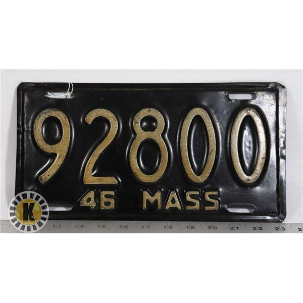 #202  U.S.A. AMERICAN LICENCE PLATE 1946