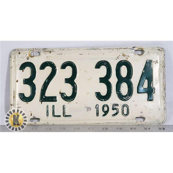 #205  U.S.A. AMERICAN LICENCE PLATE 1950 ILLINOIS