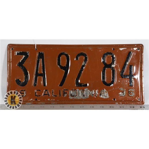 #210  RARE U.S.A. AMERICAN LICENCE PLATE 1936