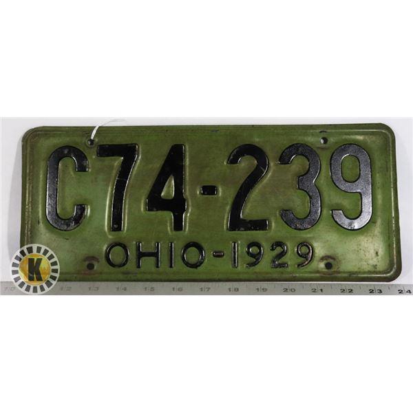 #211  RARE U.S.A. AMERICAN LICENCE PLATE 1929 OHIO