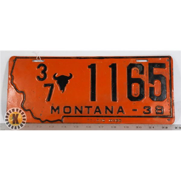 #212  RARE U.S.A. AMERICAN LICENCE PLATE 1937 1938