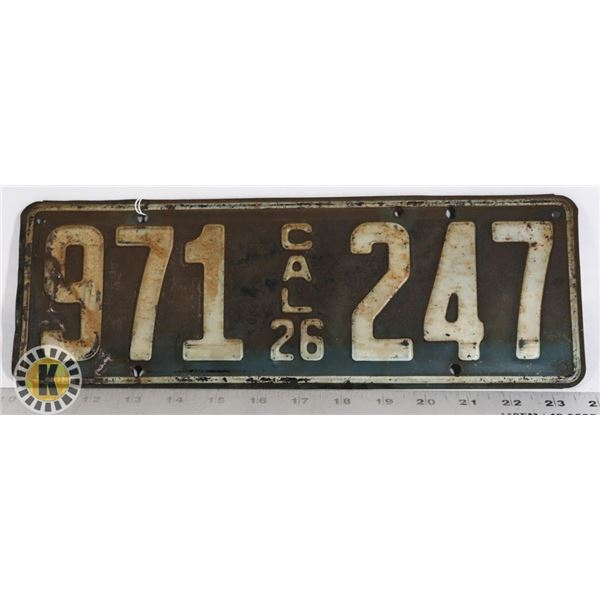 #213 RARE U.S.A. AMERICAN LICENCE PLATE 1926