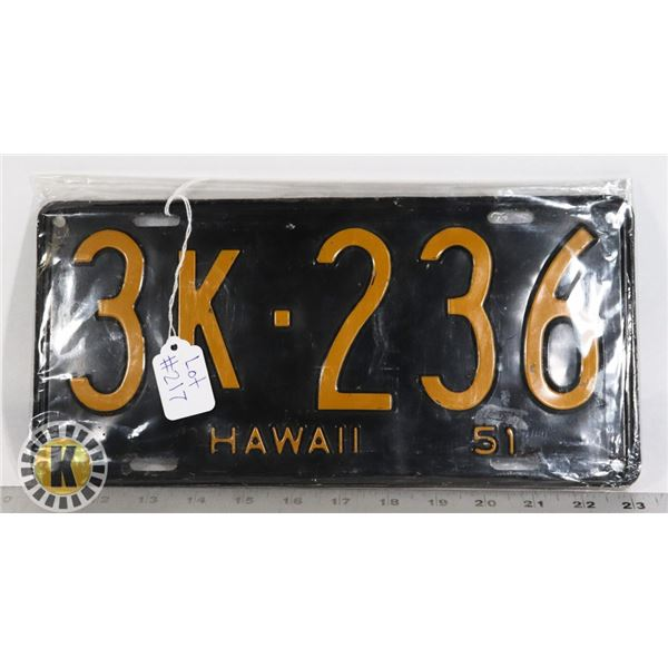 #217 RARE U.S.A. AMERICAN LICENCE PLATE 1951