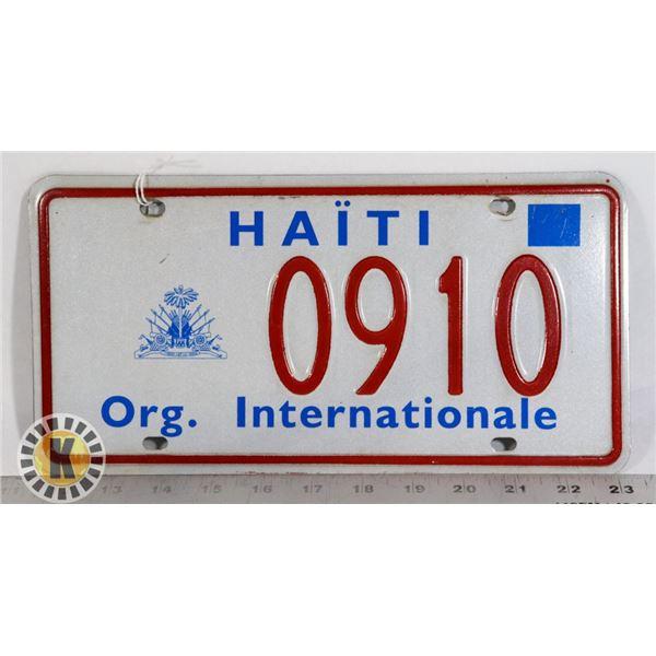 "#221 HAITI LICENCE PLATE 0910 ""ORG. INTERNATIONAL"