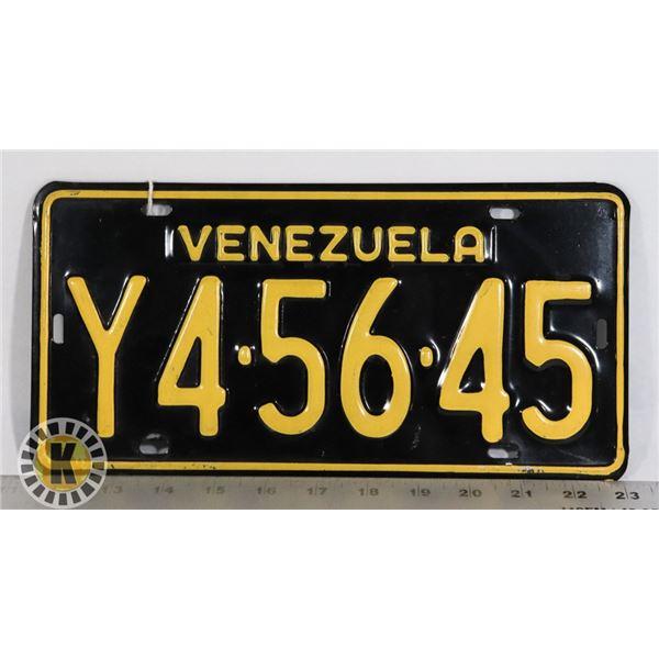 #222 VENEZUELA LICENCE PLATE Y4-56-45 HEAVY