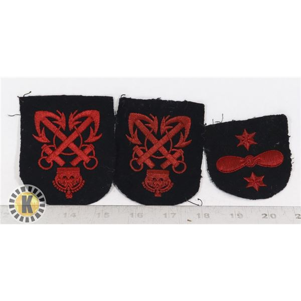 #374  LOT OF 3 WW2 CANADIAN NAVY INSIGNIA PATCHES