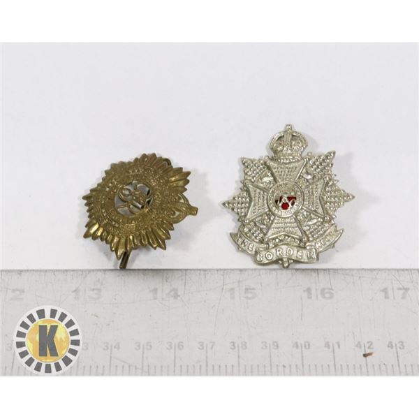 #390 LOT OF 2 WW2 CANADIAN ARMY CAP BADGE