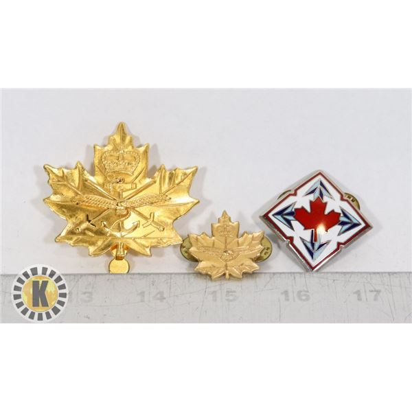 #394 LOT OF 3 CANADIAN ARMY MILITARY BADGE