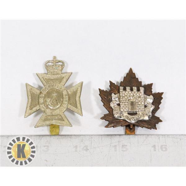 #412 LOT OF 2 CANADIAN MILITARY INSIGNIA CAP BADGE