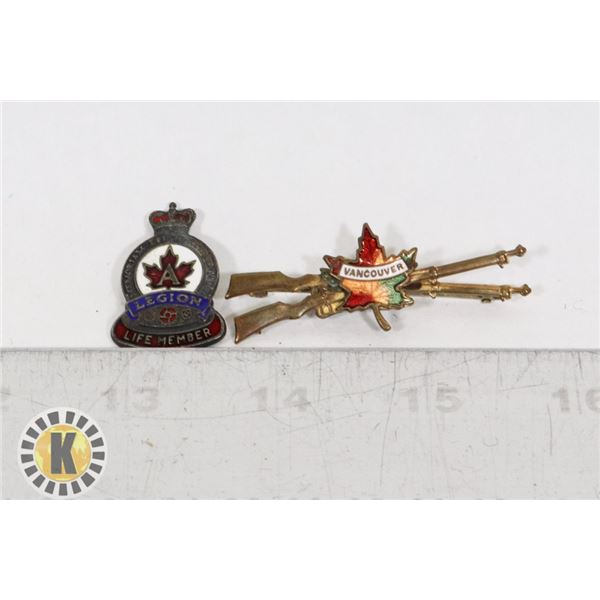#415 VINTAGE CANADIAN LEGION LIFE MEMBER PIN AND
