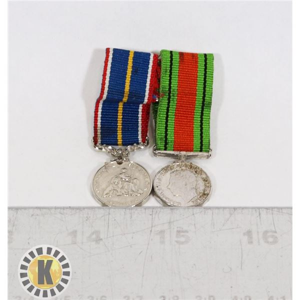 #435 TWO MINIATURE BRITISH MEDALS DEFENCE AND