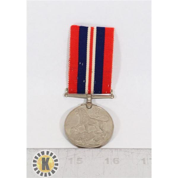 #437 WW2 BRITISH SERVICE MEDAL 1939 1945 WAR