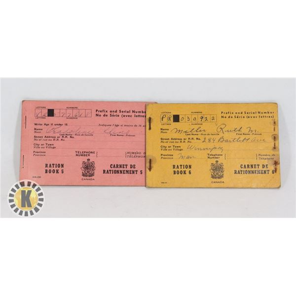 #452 LOT OF 2 WW2 CANADIAN RATION BOOKS