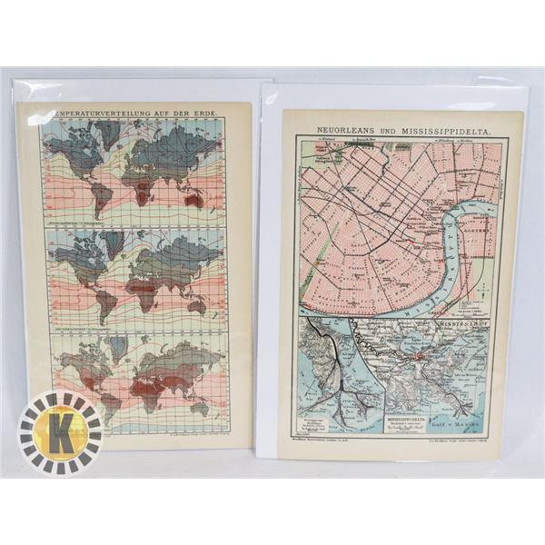 #484 LOT OF 2 VINTAGE MAP PRINTS PLATES, COLOUR
