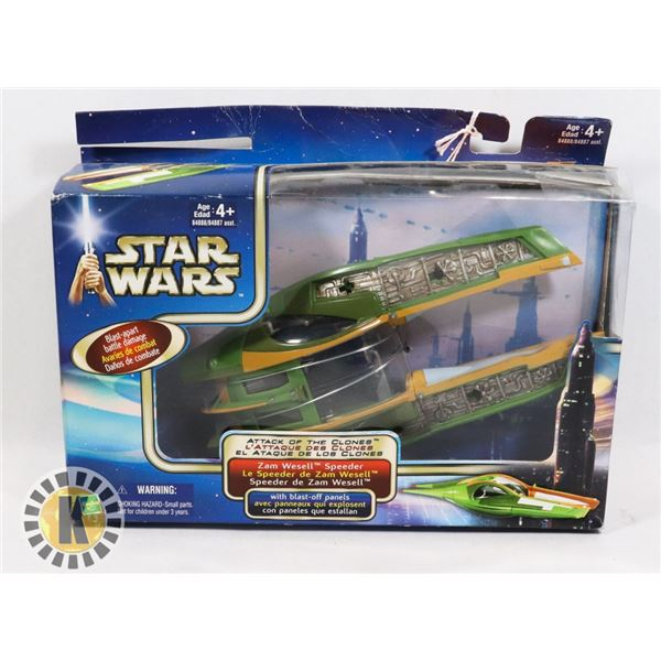 #494 STAR WARS BOXED ZAM WESELL SPEEDER ATTACK OF