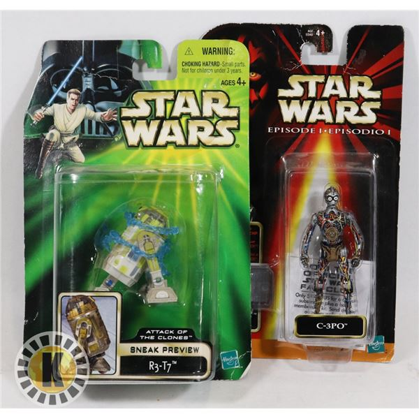 #500  STAR WARS OF 2 SEALED CARDED ACTION FIGURES