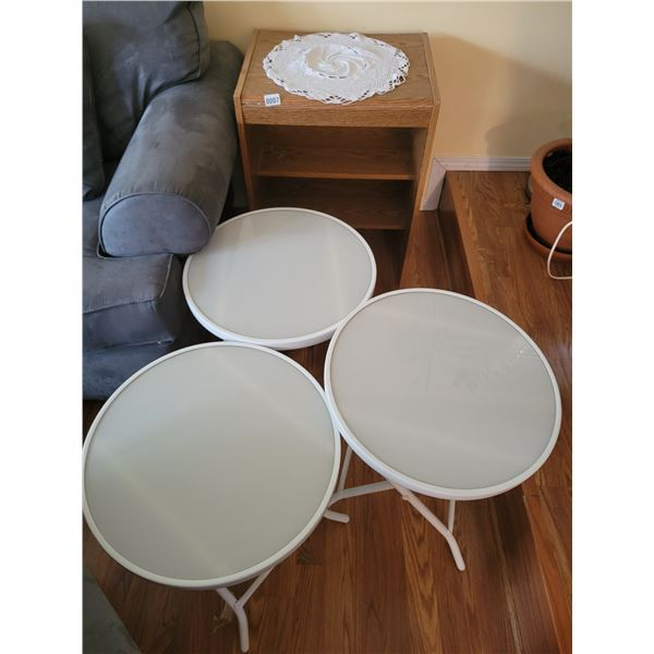 Small Brown Book Shelf with 3 Round White (Foldup) Side Tables.