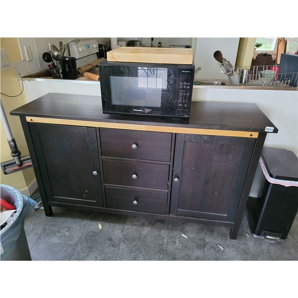 Buffet with Panasonic Microwave & Wooden Cutting Board.