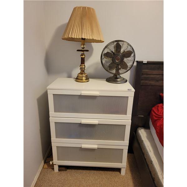 White Dresser with Lamp & Fan