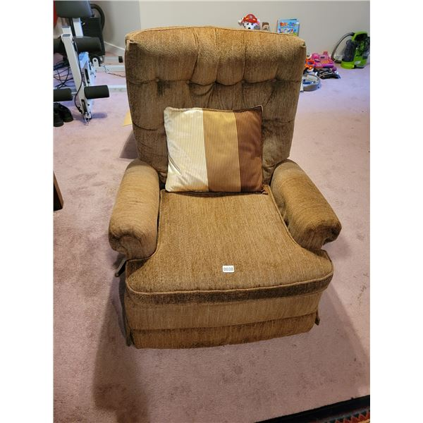 Brown Recliner Chair and Sidetable