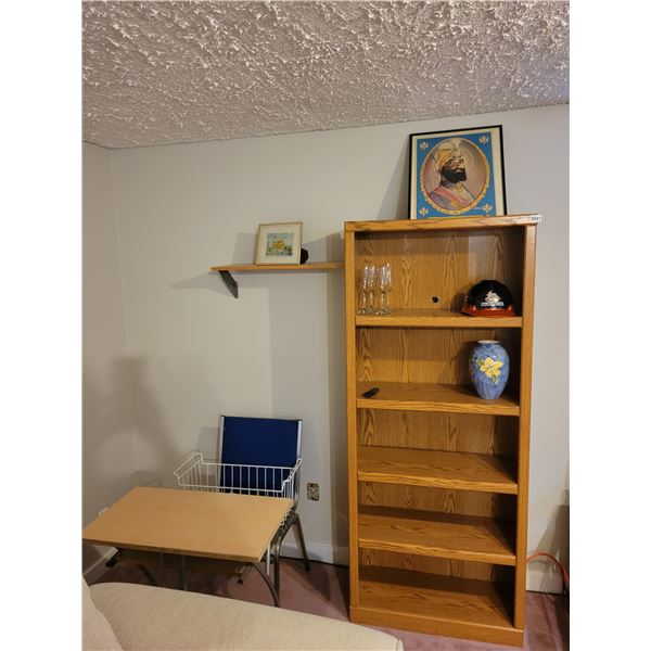 6' Shelf with Desk and Chair and Contents of Picture