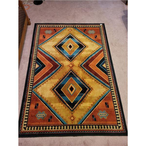 """Tribal II 100% Prestige Heat Set Nylon Wool Rug 88.5""""L x 64""""W"""