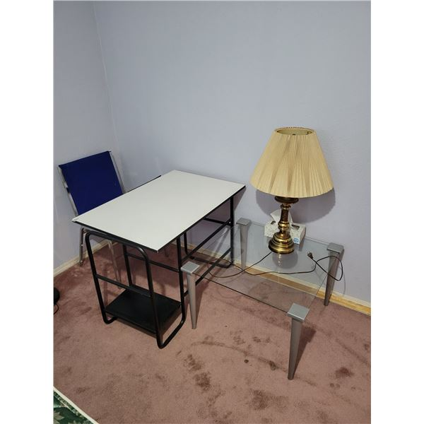 Desk & Chair - Glass Table - Lamp