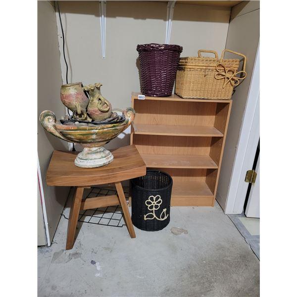 Small Shelf - Fountain - Unique Stool - Baskets