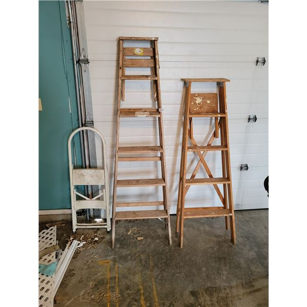 2 Wooden Ladders and a step stool