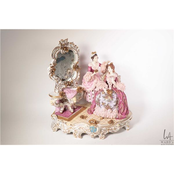 "Antique German Wilhelm Rittrsch Dresden figurinal stature of two ladies dressing 15 1/2"" in height a"