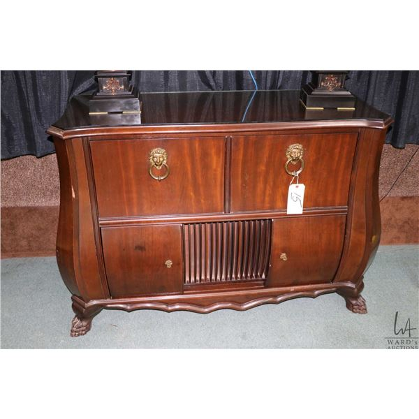 Vintage mahogany Philips cabinet audio system with multi band radio and record player, record storag