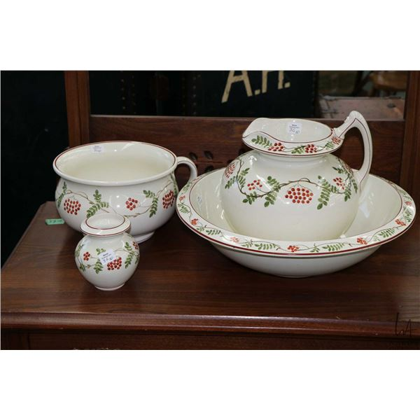 Wedgwood handpainted vine and berry patterned wash basin, water jug, toothbrush holder and commode