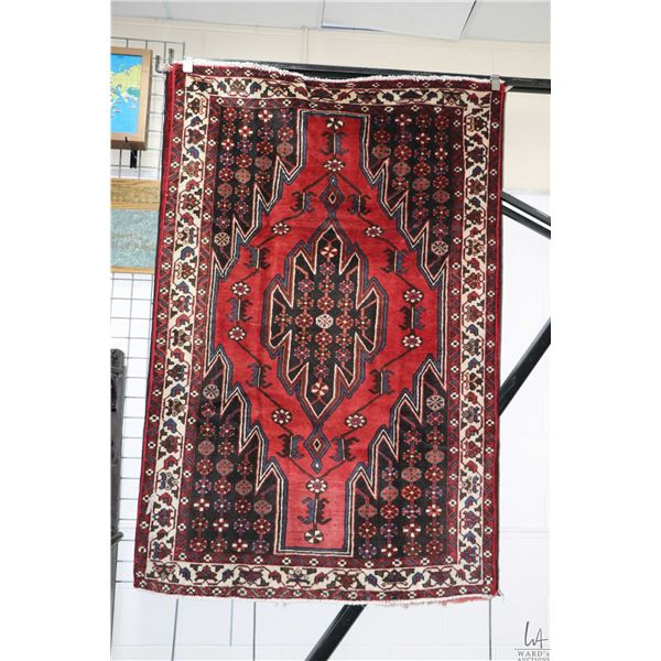 100% handmade Iranian Mazlaghan wool area carpet with center medallion, red background and highlight