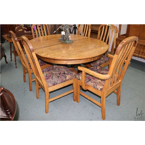 """Modern vintage style quality made oak dining suite including 44"""" round table with one 16"""" insert lea"""