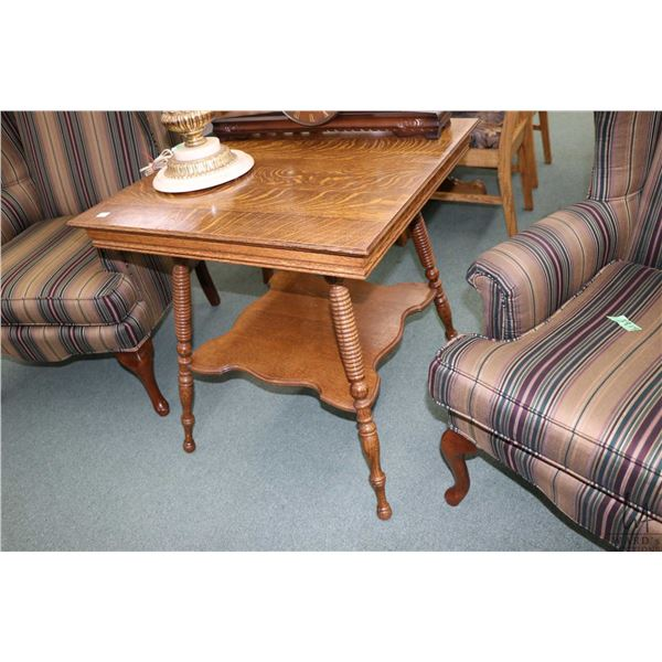 """Two tier quarter cut oak antique occasional table with turned supports, 27"""" square"""