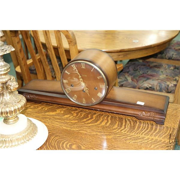 Walnut cased Forestville mantle clock with selectable chiming movement, working at time of catalogui