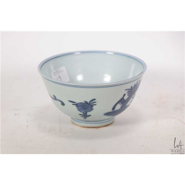 """Blue and white dragon bowl with Lung-Ch'ing reign markings 4 3/4"""" in diameter"""